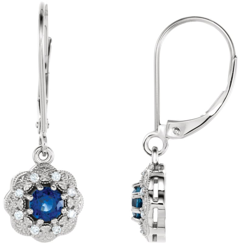 Signature Collection 14k White Gold Sapphire and Diamond Dangle Earrings - #ELI86245SS