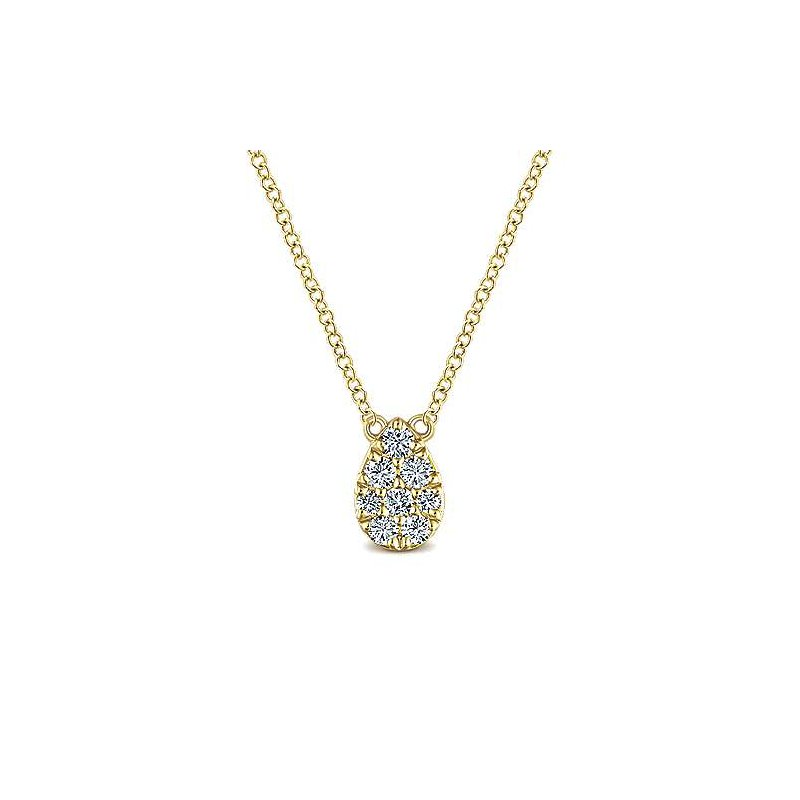 Signature Collection 14k Yellow Gold Teardrop Diamond Necklace by Gabriel NY