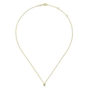 14k Yellow Gold Teardrop Diamond Necklace by Gabriel NY