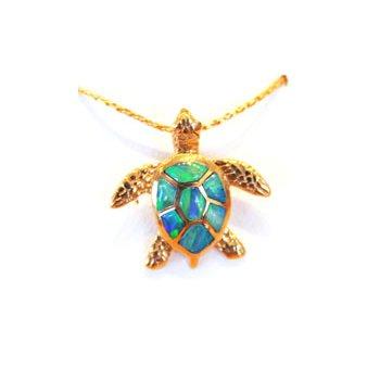 Kabana Australian Opal Inlay Turtle Pendant