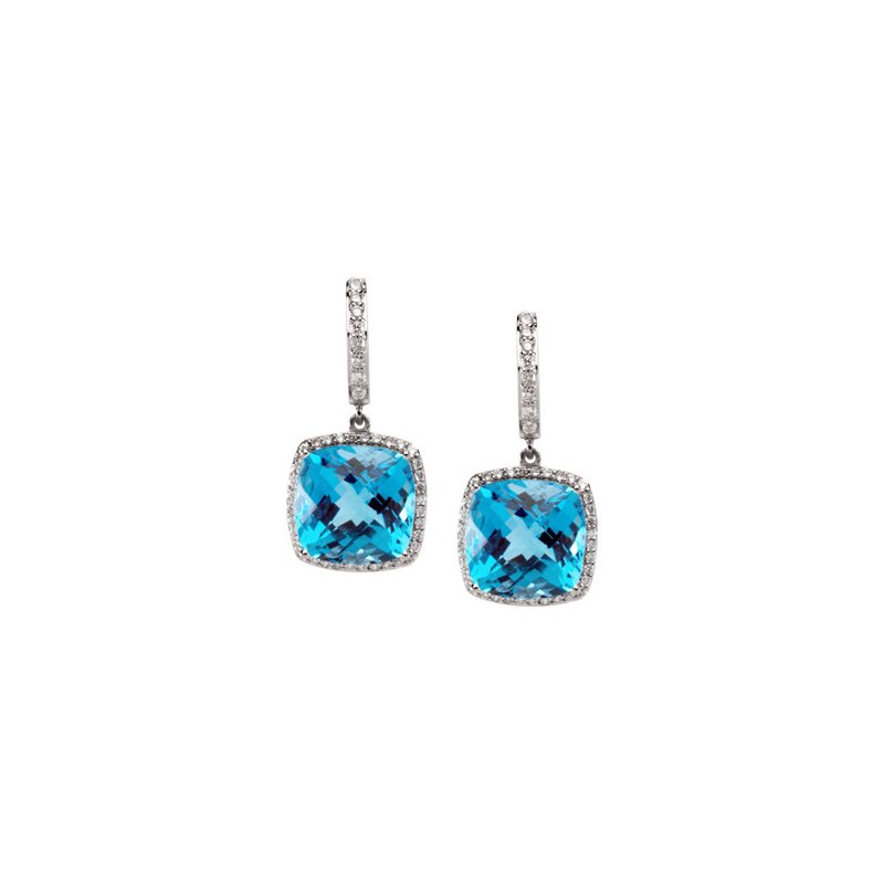 Signature Collection Genuine Swiss Blue Topaz & Diamond Earrings