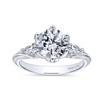 Platinum 3-Stone Pear Diamond Engagement Ring from the Amavida Collection by Gabriel NY