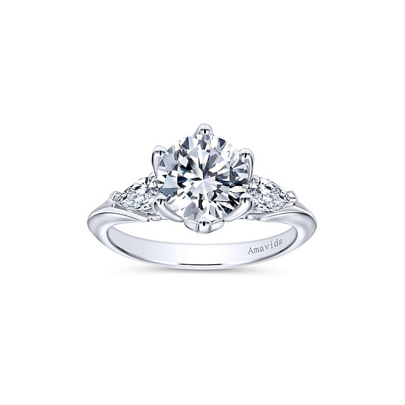 Gabriel NY Platinum 3-Stone Pear Diamond Engagement Ring from the Amavida Collection by Gabriel NY