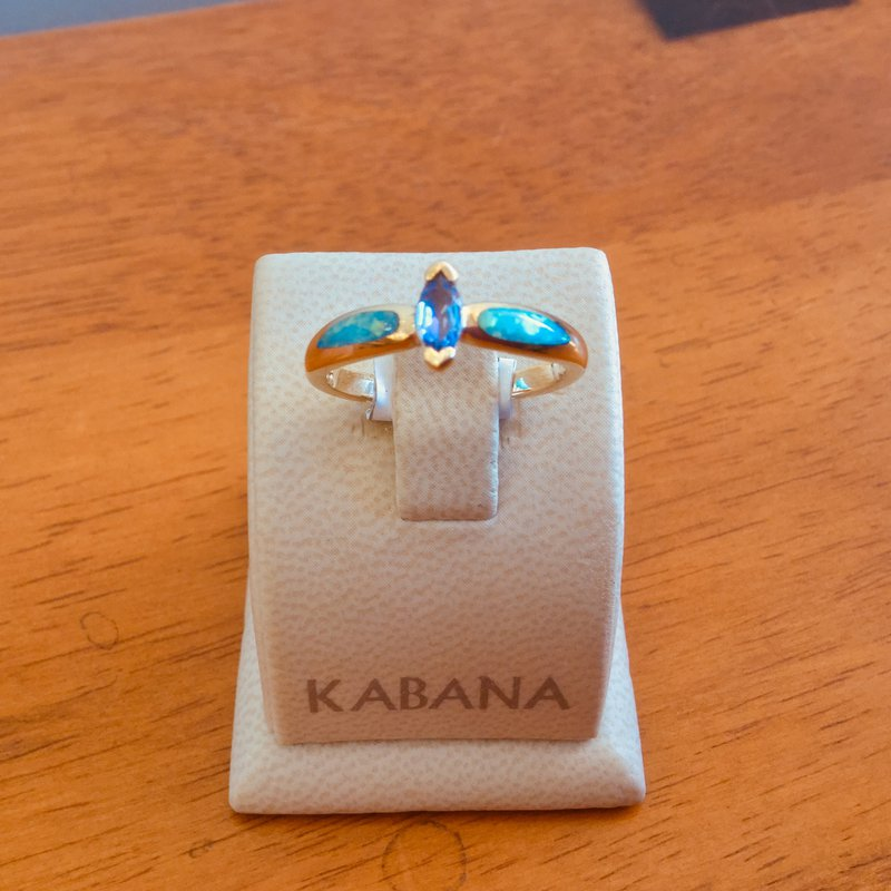 Kabana Jewelry Kabana Australian Opal, Marquise Tanzanite and Diamond Ring - #34523