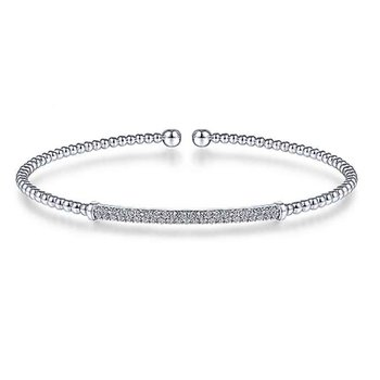 14k White Gold Beaded Diamond Flex Bangle Bracelet by Gabriel NY