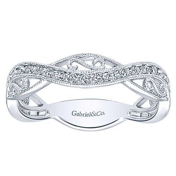 14k White Gold Filigree Stack Ring by Gabriel NY