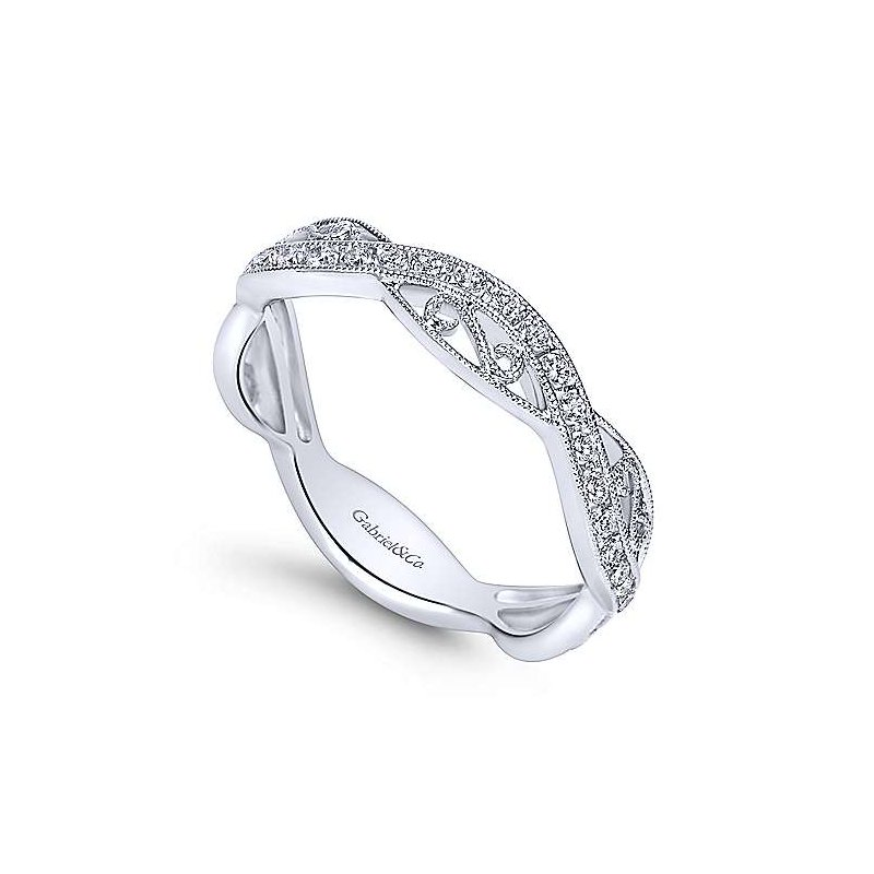 Signature Collection 14k White Gold Filigree Stack Ring by Gabriel NY