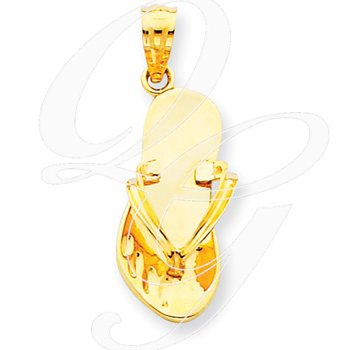 Quality Collection Sealife 14k Yellow Gold Polished Solid Flip Flop Pendant