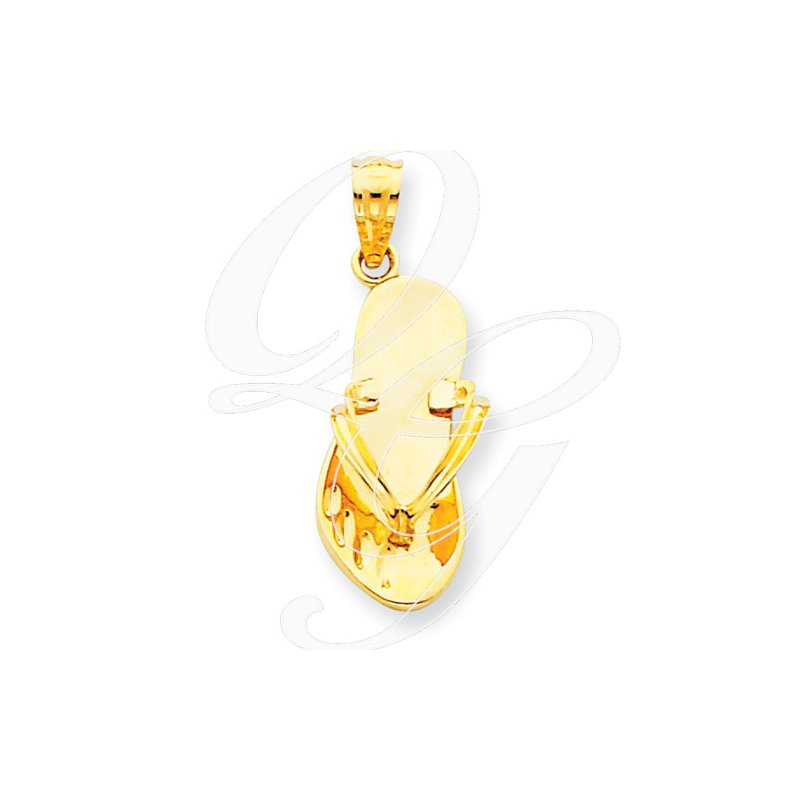 Sealife Jewelry Quality Collection Sealife 14k Yellow Gold Polished Solid Flip Flop Pendant