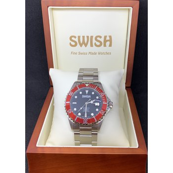 SWISH Swiss Made Rotating Red Bezel Stainless Steel Automatic Watch - Style #SW104
