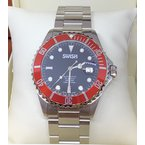 Swiss Watches SWISH Swiss Made Rotating Red Bezel Stainless Steel Automatic Watch - Style #SW104