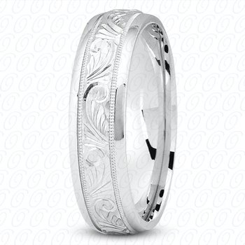 Unique Settings M344 - 14k White Gold Fancy Carved Hand Engraved 7mm Men's Wedding Band