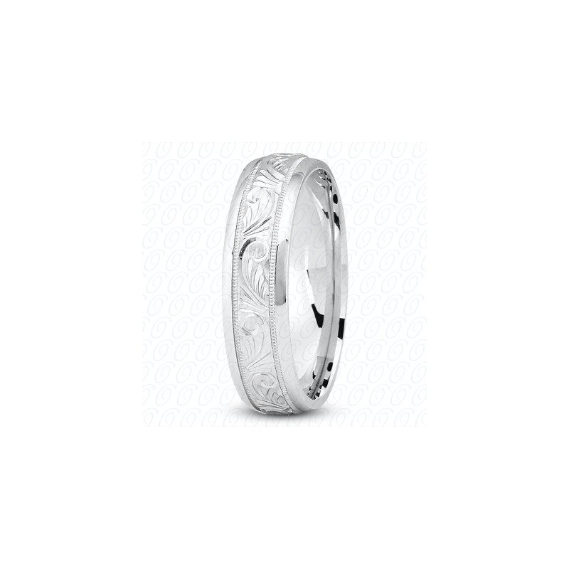 Unique Settings Unique Settings M344 - 14k White Gold Fancy Carved Hand Engraved 7mm Men's Wedding Band