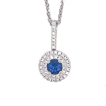 14k White Gold Double Halo Sapphire & Diamond Pendant