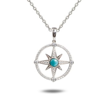 Sterling Silver Compass Pendant with Larimar and White Topaz.