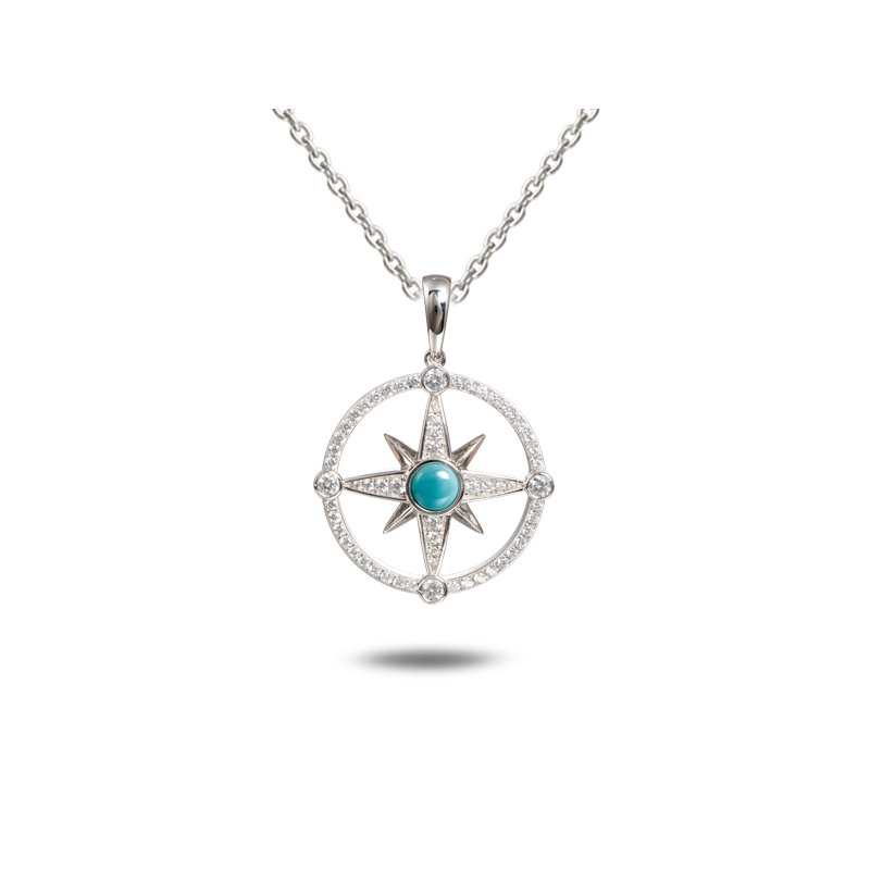 Alamea Larimar  Sterling Silver Compass Pendant with Larimar and White Topaz.