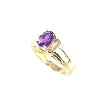 Genuine Amethyst and Diamond Ring in 14k Yellow Gold