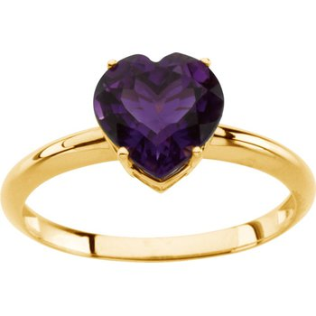 Genuine Amethyst Heart Ring