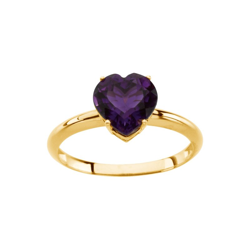 Signature Collection Genuine Amethyst Heart Ring