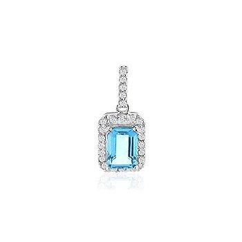 Genuine Blue Topaz and Diamond Pendant in 14k White Gold
