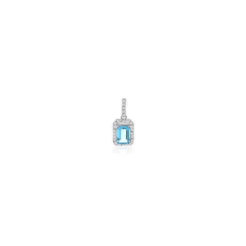 Signature Collection Genuine Blue Topaz and Diamond Pendant in 14k White Gold