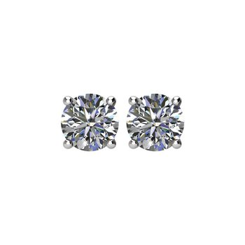 14k White Gold 4-prong Diamond Stud Earrings - 1.00ctw