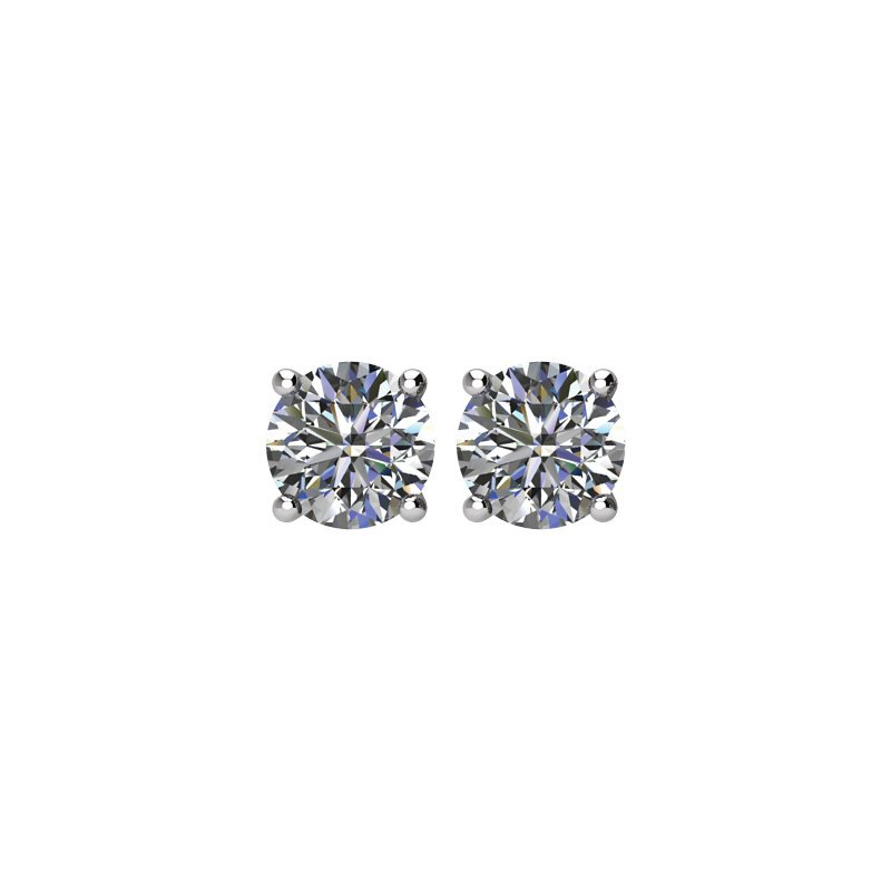 Signature Collection 14k White Gold 4-prong Diamond Stud Earrings - 1.00ctw