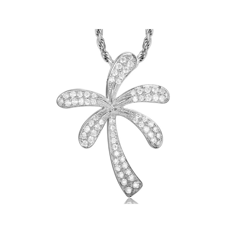 Sealife Jewelry 14k White Gold Diamond Palm Tree Pendant