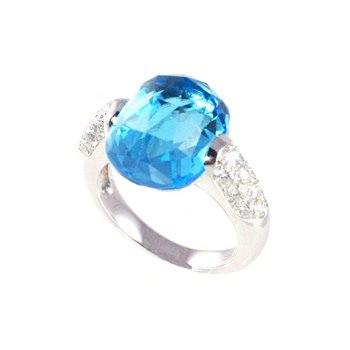 Genuine Blue Topaz & Diamond Ring in 18k White Gold