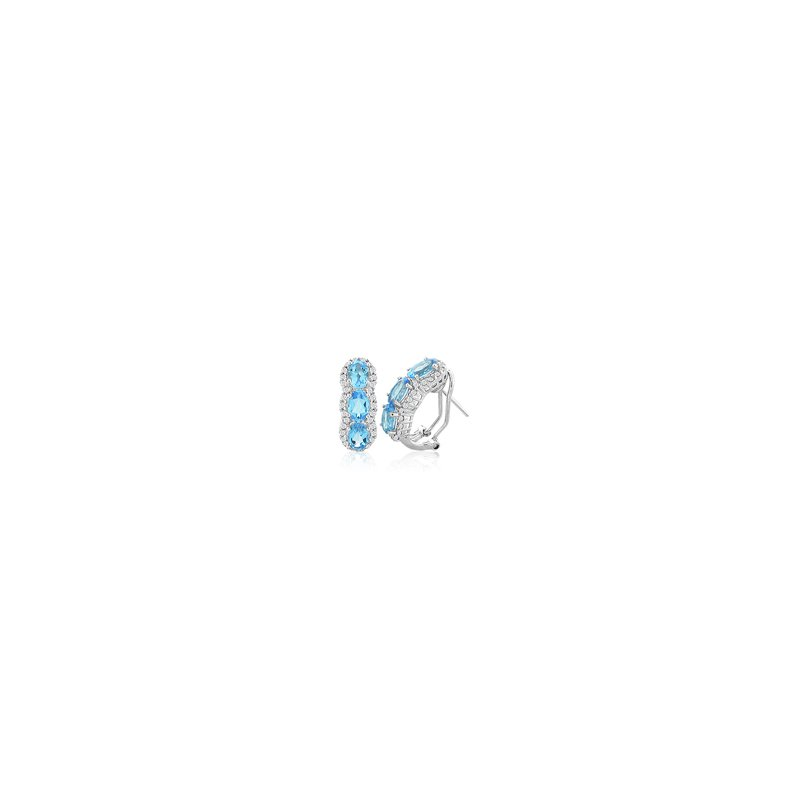 Signature Collection Genuine Blue Topaz and Diamond Earrings in 14k White Gold