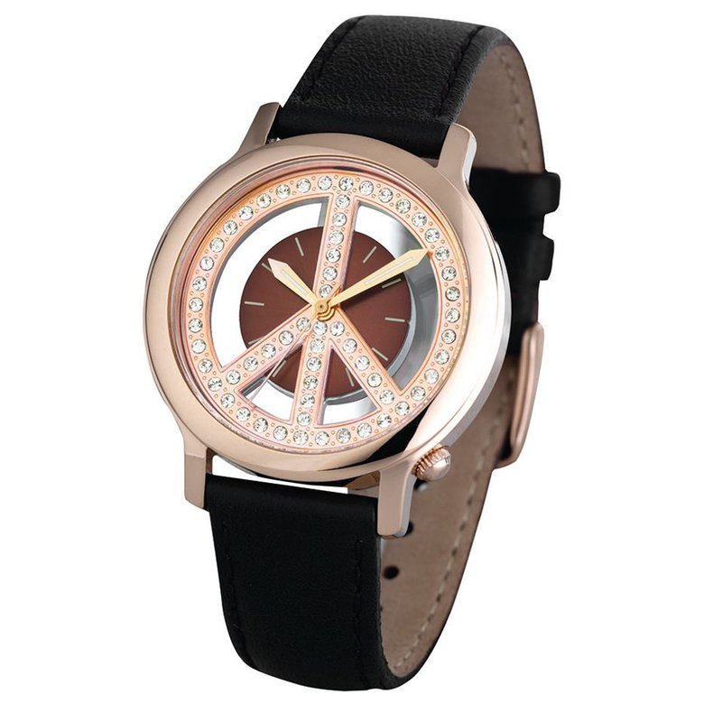 Swiss Watches Ladies Peace Movement Watch with a Brown Leather Strap