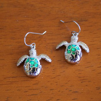 Sterling Silver and Gold Plate Turtle Hatchling Earrings with Kyocera Lab Created Opal