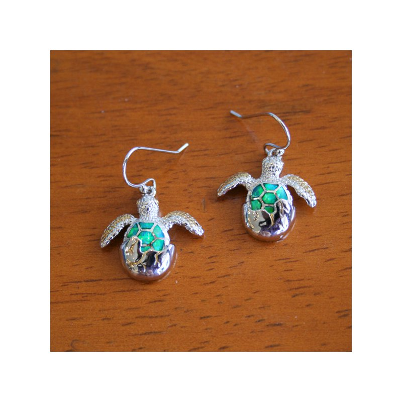 Kovel Sealife Sterling Silver and Gold Plate Turtle Hatchling Earrings with Kyocera Lab Created Opal