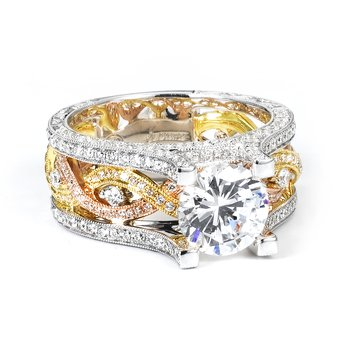 18k Tri-Color Twist Band Engagement Ring - 38755