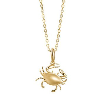 14k Yellow Gold Crab Pendant