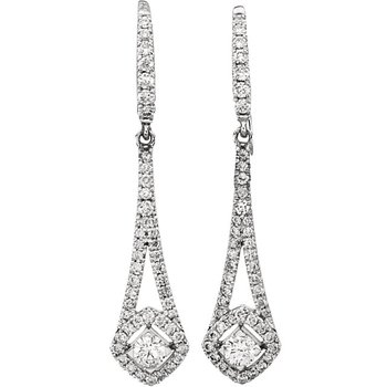 14k White Gold Diamond Chandelier Earrings - #42477