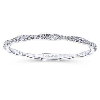 Demure Collection 14k White Gold Soft Diamond Bangle Bracelet by Gabriel NY