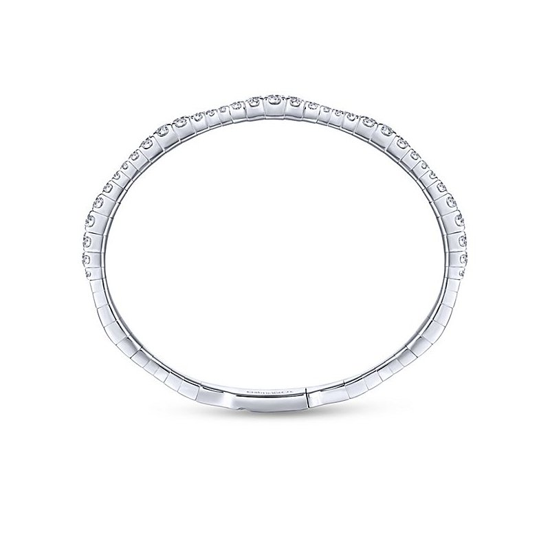 Signature Collection Demure Collection 14k White Gold Soft Diamond Bangle Bracelet by Gabriel NY