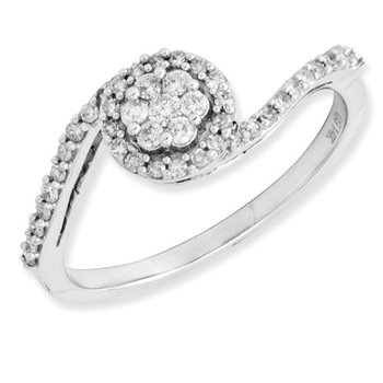 From the Promise Ring Collection 14k White Gold Bypass Floral Style Diamond Ring