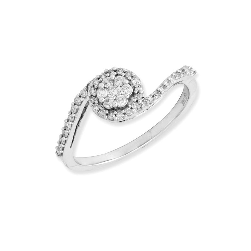 Signature Collection From the Promise Ring Collection 14k White Gold Bypass Floral Style Diamond Ring