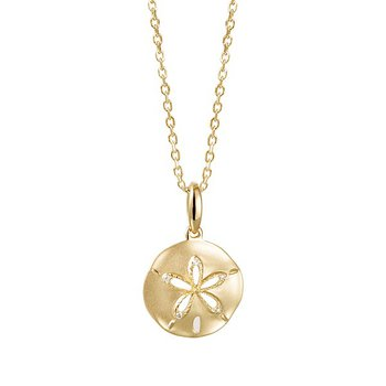 14k Yellow Gold Sand Dollar Pendant with Diamonds