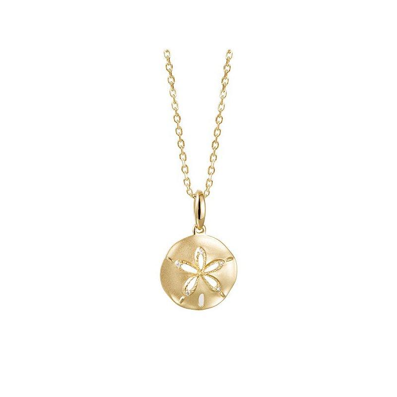 Sealife Jewelry 14k Yellow Gold Sand Dollar Pendant with Diamonds