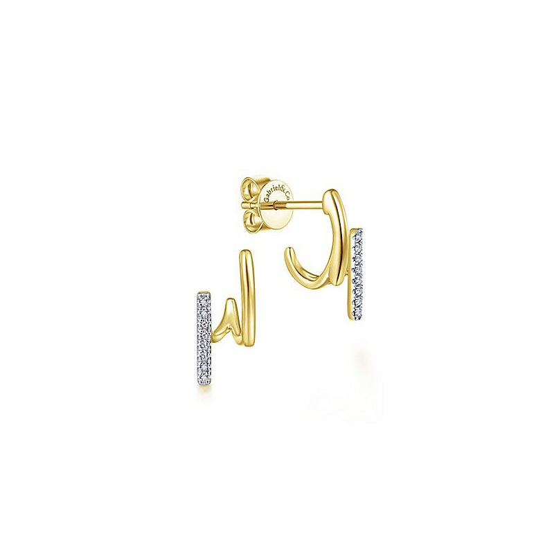 Signature Collection 14k Yellow Gold Zig Zag Diamond Stud Earrings by Gabriel NY - Style #EG13586Y