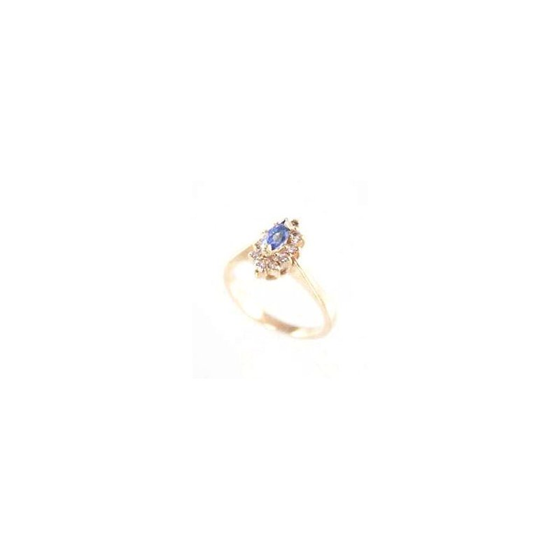 Signature Collection Genuine Tanzanite Ring in 14k Yellow Gold