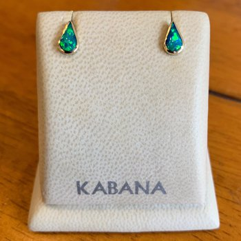 Kabana 14k Yellow Gold Pear Shaped Australian Opal Stud Earrings