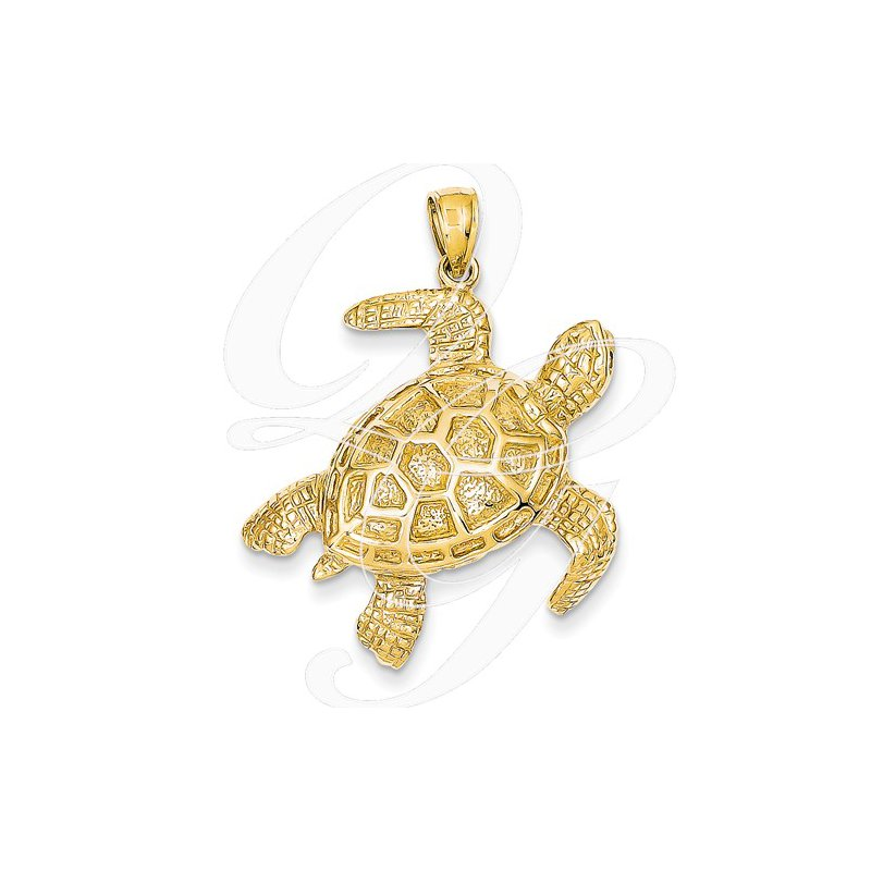 Sealife Jewelry Quality Collection 14k Yellow Gold Large Turtle Pendant
