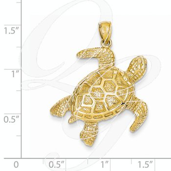 Quality Collection 14k Yellow Gold Large Turtle Pendant