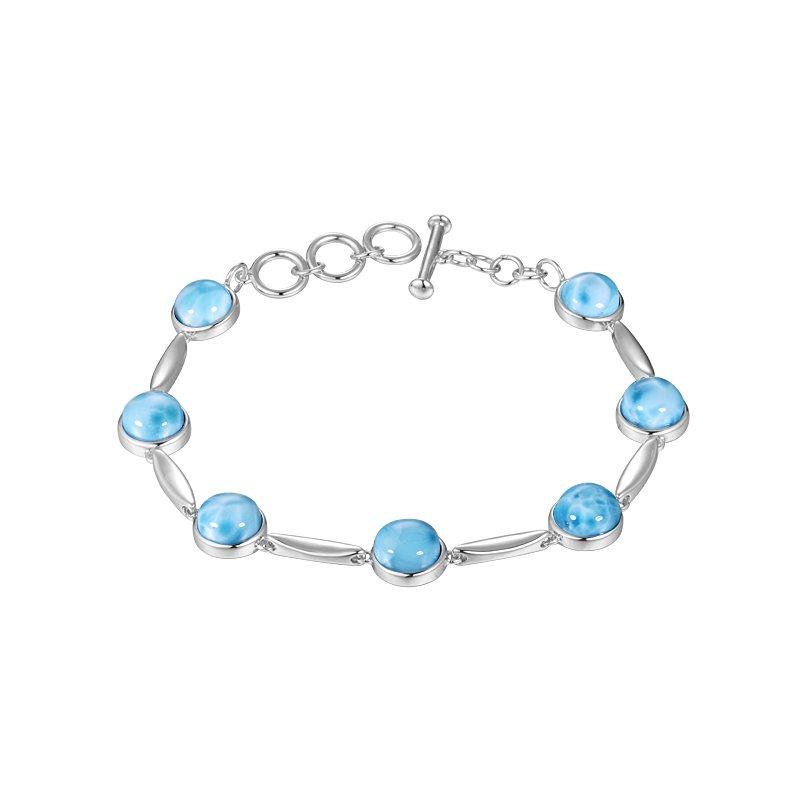 Alamea Larimar  Sterling Silver Larimar Circle Bracelet