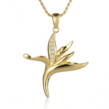 Alamea 14k Yellow Gold Diamond Bird of Paradise Pendant