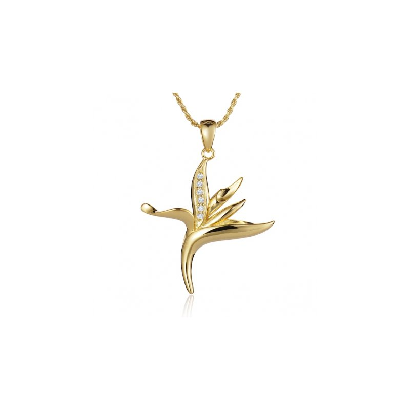 Sealife Jewelry Alamea 14k Yellow Gold Diamond Bird of Paradise Pendant